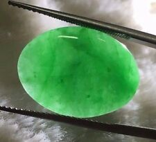 NATURAL JADEITE 11.86 CTS. TOP GREEN COLOUR OVAL SHAPE CERTIFIED/ RING-PENDANT