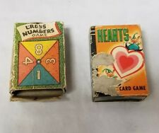Vintage 50s Card Games: Set of 2, Cross Numbers Card Game, Hearts, FREE SHIPPING