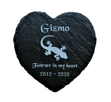 Personalised Engraved Slate Heart Pet Memorial Grave Marker Plaque Lizard Gecko