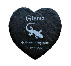 Personalised Engraved Slate Heart Pet Memorial Grave Marker Plaque Lizard Gecko