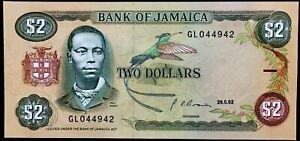 [7542] Jamaica 2 Dollars 1992 UNC P-69d Banknote