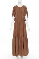 ROCHAS 100% silk brown shirred short sleeve maxi dress IT38 S