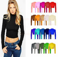 Womens Polo Neck Top Ladies Turtle Neck Full Sleeves Crop Top Shirt Size UK 8-14