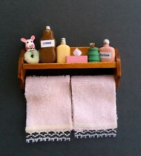 Bathroom Shelf With Accessories & Pink Towels, Dolls House Miniatures