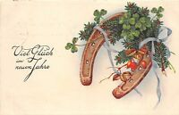 BG8705 horseshoe clover mistletoe  neujahr new year greetings germany