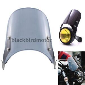 Universal 5-7'' Round Headlight Fairing Smoke Windshield Windscreen For Honda
