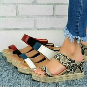 Womens Platform Sandals Ladies Summer Mid Heel Slip On Slippers Wedge Shoes Size