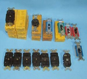 Hubbell 5262 & 5362 Brown Receptacles 2 Pole 15 AMP 125 VOLT & Wall Switch Lot