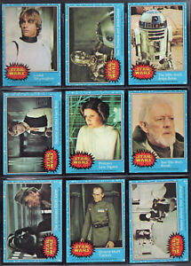 Star Wars Topps Trading Cards Complete Set Blue #1-66 + Stickers #1-11  NM  1977