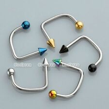 5pc Mixed Stainless Steel U Bar Ball Lippy Loop Lip Monroe Labret Rings Piercing