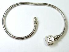 GENUINE CHAMILIA CHAM 925 SILVER OYSTER CLASP SNAKE CHARM BRACELET 19cm