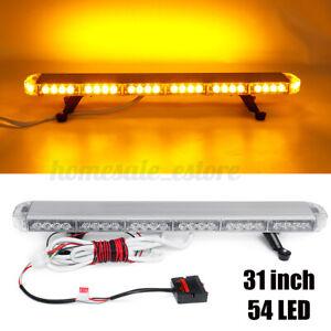"US 31"" 54 LED Emergency Warning Strobe Light Bar Beacon Double Side Lamp Amber"