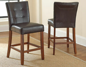 Montibello Counter Upholstered Tufted Chair Stools Brown Set of 2