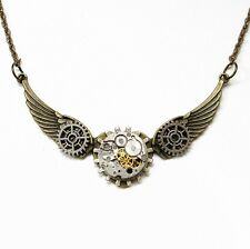 steampunk gothic choker necklace chain wings watch parts heart women jewelry