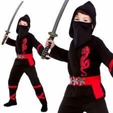 Black Power Ninja Kids Boys Fancy Dress Costume Halloween Japanese Warrior 5 - 7 Years Eb-4081