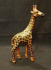 Giraffe - Hand Crafted Wood Like Paper Mache ~ Leather Ears - 10 1/2 H x 4 1/4 W
