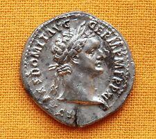 Ancient Roman Domitian Denarius, aUNC
