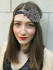 Vintage 1920s Black Silver Beaded Headpiece Headband Great Gatsby Flapper i32