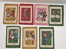Lot of 7 Antique Cigarette Flannels Tobacco Felts Quilt Patches w Dancers