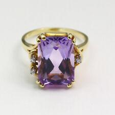 Large Vintage 14k Yellow Gold Amethyst Diamond Ring - Size 6.75