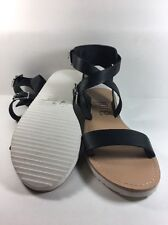 NEW Women's JORE GIGI Black Flats Buckle Slides Sandals Shoes SZ 8