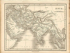 1828 map of asia- ancient roman miles scale . by j.vincent of oxford