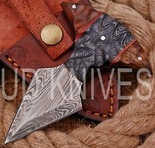 UD CUSTOM HANDMADE 1095 DAMASCUS STEEL  FULL TANG HUNTING KNIFE QM-8044