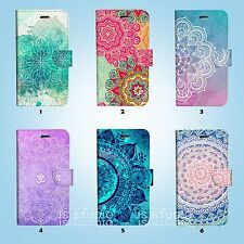 Mandala Pattern Flip Wallet Case for HTC One M7 M8 M9 048