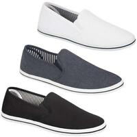 Mens Casual Canvas Shoes Plimsolls Pumps Skates Slip On Black Denim Size 7 - 12