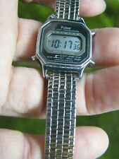 PULSAR LED RUNNING AND LOOKING GOOD WRIST WATCH UNISEX, SILVER TONE, SIZE 6