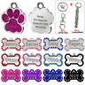 Personalized Glitter Dog Tags Disc Engraved Cat Puppy Pet ID Name Collar Tag