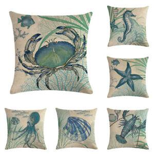 Marine Sea Ocean Animal Sofa Waist Pillow Case Linen Cushion Cover Home Decor