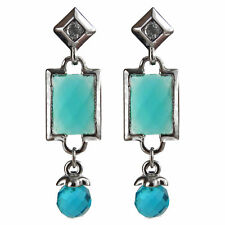 Boucles d'oreille plaqué or blanc CRISTAL losange rectangle verre géométrie bleu