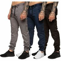 Enzo Designer Mens Cuffed Chinos Biker Jeans Slim Denim Trousers Pants Joggers