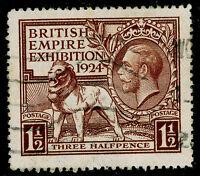 Sg431, 1924 1½d brown, good used. Cat £15.