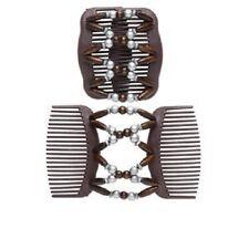 2666GF Hair Clip Comb Acrylic Brown Purple Silver Pearl