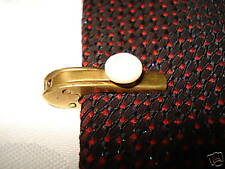 "ANTIQUE TIE CLASP/PIN  ""THE BALL LOCK""  PAT.10720-1908 MC MOTHER PEARL NECKTIE"