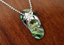 Hawaiian Sterling Silver PLUMERIA ABALONE SHELL SLIPPER Pendant Necklace #SS1876