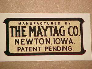 Maytag Decal  Multi-Motor Gas Engine Wringer Washer