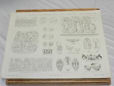 1879 Antique PRANG Print/ANCIENT SCULPTURE & POTTERY///b