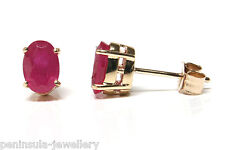 9ct Gold Ruby Oval Studs Earrings Made in UK Gift Boxed Christmas Xmas Gift