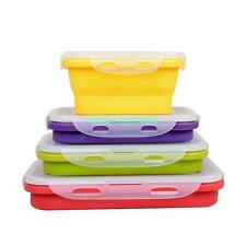 US 350ML COLLAPSIBLE COMPACT SILICONE PICNIC LUNCH BOX FOOD STORAGE CONTAINER