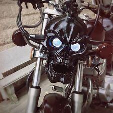 Universal Motorcycles Custom Black LED Skull Head Light Headlight Lamp