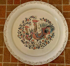 """Signed Maxey MCM Rooster Hen Tole Toleware  19"""" Round Metal Tray EUC"""