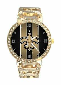 NFL New Orleans Saints Bracelet Watch Austrian Crystal Stainless Steel Gift Box