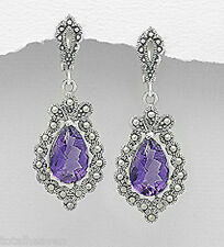 """Sterling Silver Amethyst Marcasite Dangle Earrings ANTIQUE Inspired 1.8"""" Solid"""