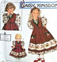 "DAISY KINGDOM Pattern 8263 OOP Girls Dress Pinafore PLUS 18"" Doll Dress 5 6 7 8"