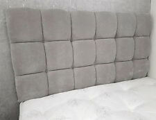"5ft King Size Pendle 28"" High Grey Velvet Deep Buttoned Headboard"