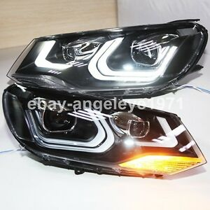 2011-2014 year For VW Touareg LED Strip Front Lamps with Projector Lens Lights