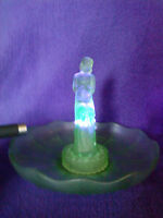 "Bohemian art deco frosted green uranium glass ""Stump Lady"" bowl & flower frog"